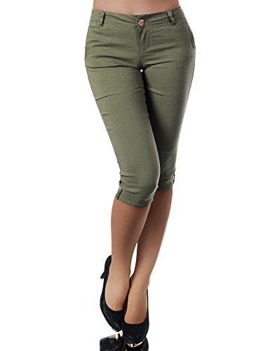 Diva-Jeans N953 Damen Caprihose Treggings Leggings Stoffhose Sommerhose Knielang 3/4 Capri, Größen:XL, Farben:Khaki Stretch Khaki Bootcut-hose