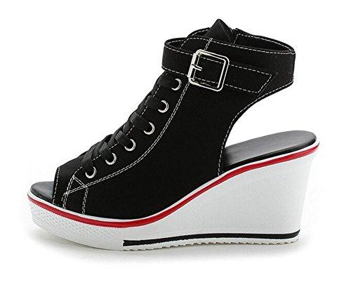 wealsex Baskets Mode Compensée Chaussure de Sport Sneakers Chaussures Casual Toile Sandales Bout Ouvert Boucle Lacets Grande Taille 35-41 Femme Noir