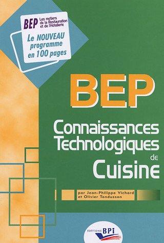 Connaissances technologiques de cuisine : BEP