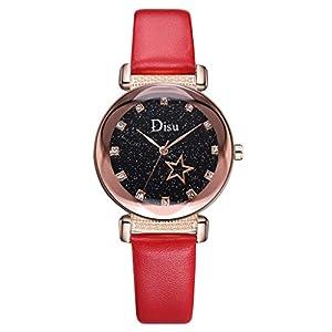 Damen Armbanduhr Luotuo Mode Strass Analog Quarz Uhr mit Leder Armband Ø34mm Sternenhimmel Zifferblatt Wild Geschäft Freizeit Watch Handschmuck für Frauen