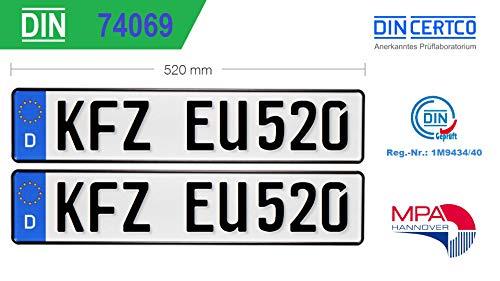 2X KFZ Kennzeichen Standard Größe EU520x110x1mm Autokennzeichen Wunschkennzeichen Saisonkennzeichen Nummernschild PKW Kennzeichen Fahrradträger Anhänger Elektro Auto Oldtimer