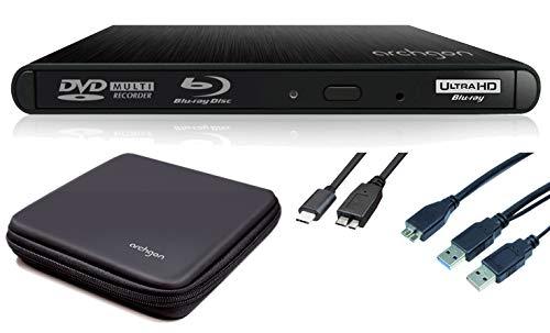 Archgon Externer 4K-UHD Player Blu-ray Brenner USB 3.0 USB-C BDXL Style, Tray Load disc Drive Hitachi-LG BU40N UHD Blue-ray, Alu schwarz Schutzbox - kompatibel mit PC und Mac MacBook Pro, Air, iMac