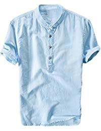 Shelers Herren Leinen Kurzarm Button Kurzarm Leinenhemd Shirt Casual Sommer  Herren Weste cf01ec1e7b