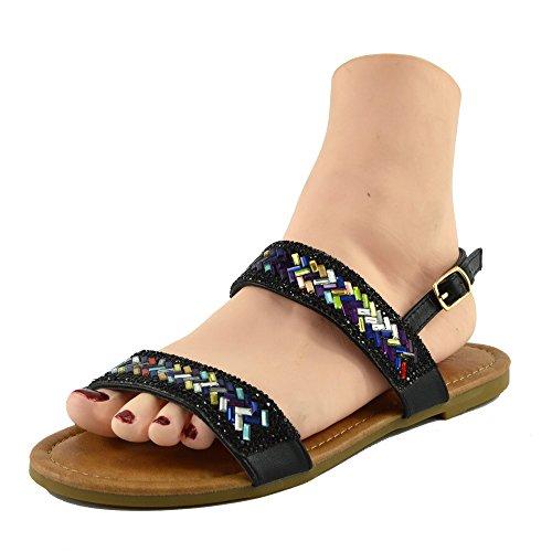 Kick Footwear - DONNE DELLE SIGNORE DI TV GLADIATORE IN ESTATE SPIAGGIA FLIP FLOP VACANZA SANDALI SCARPE Nero-Modello N. 3