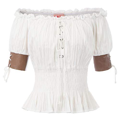 Belle Poque Retro Damen Gothic Victorian Schulterfrei Rüschen Tops Weiß Größe L (Rüschen Shirt Kostüm)