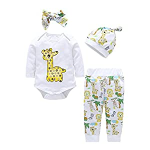 BaojunHT Baby Girls Cartoon Jumpsuit Giraffe Print Sleepwear Animal Pants Romper Outfits