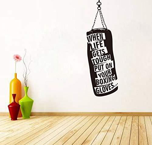 Wandtattoo Boxsack Handschuhe Boxen Motivations Wandtattoos Fitness Gym Hobby Zitat Vinyl Aufkleber DIY Art Decor148x50cm