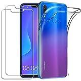 YOOWEI Coque Huawei P Smart Plus+ [2 Pack Verre trempé écran Protecteur], Transparente Silicone en Gel TPU Etui Huawei P Smart Plus Coque de Protection Housse Antichoc Cover pour Huawei P Smart Plus