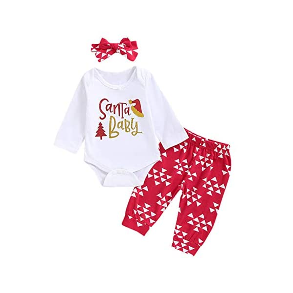 cinnamou Conjuntos Bebe NiñA 3Pcs, Pijama De Navidad Tops Estampado De Letras Mameluco De Cuello Redondo Manga Larga… 6