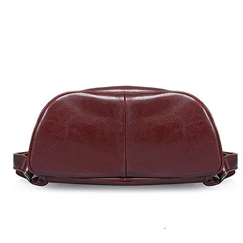 scopis Diebstahlschutz Frauen Tägliche Echt Leder Rucksack Büro Handtasche dunkelbraun