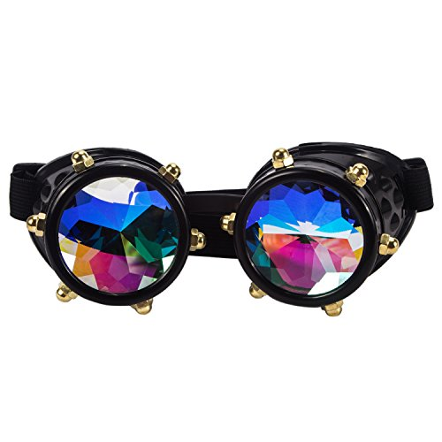 LYZ Kaleidoscope Rainbow Vintage Steampunk Goggles Multicolor Lens Welding Glasses steampunk buy now online