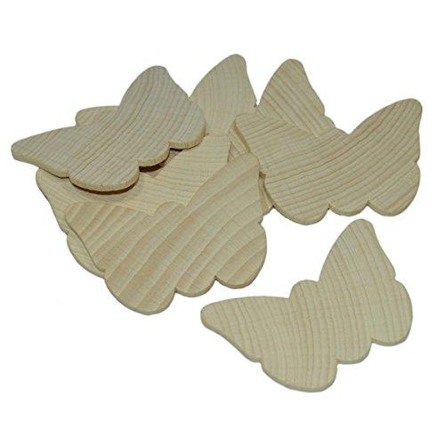 Piccolino Bastelbedarf Papillons en bois brut à peindre, décorer, personnaliser - lot de 10