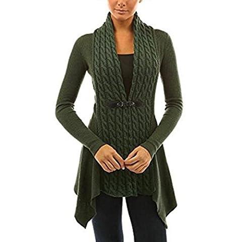 Tonsee Mode féminine sueur à manches longues et décontracté outwear cardigan tricoté (XL=EU 40, Armée verte)