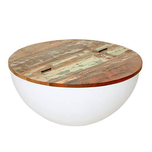 Riess Ambiente Massiver Design Couchtisch Jakarta 70cm weiß rund aus recycelten Fischerbooten mit Stauraum Wohnzimmertisch Tisch Massivholz