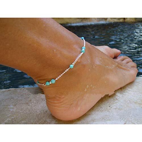 Yean Böhmisches Türkis Fußkettchen Silber Fußkettchen Strand Fußschmuck Kette für Frauen und Mädchen