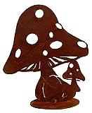 EllasDekokrempel Edelrost Pilz Toni auf Platte 25cm Herbstdeko Edelrost Pilze