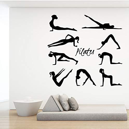 captain_y Wandsticker Schönheit Pilates Wandaufkleber Vinyl Kunst Wandtattoos Für Yoga Studio Schlafzimmer Raumdekoration Zubehör Wand-Dekor Aufkleber Wandbild