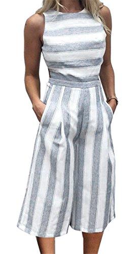Chilsuessy Elegant Damen Hosenanzug Jumpsuit Freizeit Einteiler Hose Overall Playsuit Spielanzug , Streifen, S