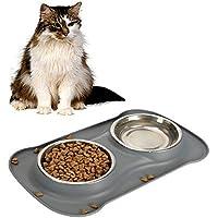 SICHERHEIT PET Katzennäpfchen-Silikon Haustier Doppel bowls.for kleiner Hund, Katze pet.including 2 Satz Edelstahl Schalen, 1 Nr Spill-Matte und Non-Skid-Schüsseln(S, grau)