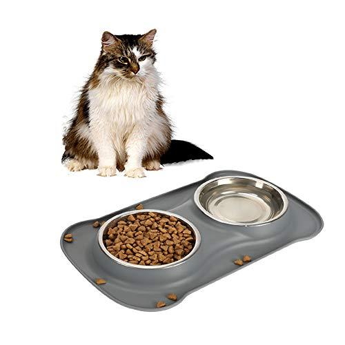 SICHERHEIT PET Katzennäpfchen-Silikon Haustier Doppel bowls.for kleiner Hund, Katze pet.including 2 Satz Edelstahl Schalen, 1 Nr Spill-Matte und Non-Skid-Schüsseln(S, grau) -