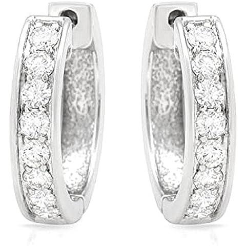 Circolare, 0,75 k, Hot diamonds-Orecchini a cerchio da donna, in oro bianco 14 k - Hot Diamonds Cerchio Orecchini