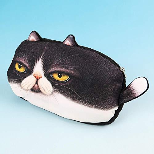 Romantic-Z 1 STÜCK Nette Multifunktionale 3D Katzen Federmäppchen Schulbedarf Plüsch Cartoon Bleistift Box Bleistiftbeutel für Kinder Schreibwaren Geschenk @ Black_Fat_cat -