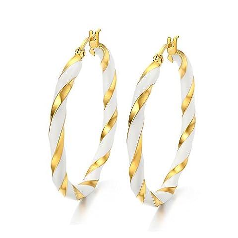 Vnox Women Stainless Steel Hoop Earring 18k Gold Plated,Filigree Enamel Two Tone Twist,Click-Top