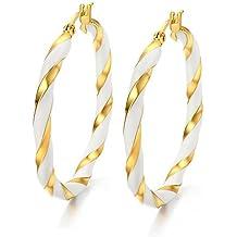 Vnox da donna in acciaio inox Orecchini a cerchio placcati in oro 18K, Smalto Filigrana Bicolore Twist, a