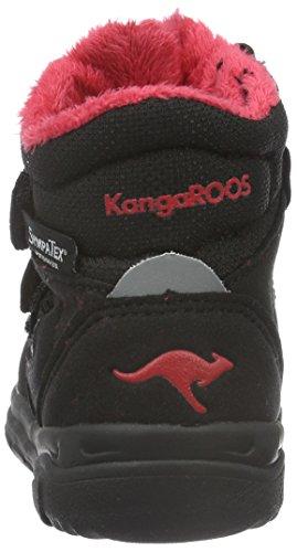 KangaROOS Sympa In 2108 B, Bottes courtes avec doublure chaude mixte enfant Noir - Schwarz (black/flame red 529)