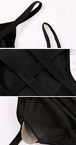 Aivtalk Enveloppe Poitrine Femme Bra avec Rembourrage Amovible Bandeaux Poitrin Rayé Dos Anti - exposée Yoga Jogging Soutien-gorge Noir