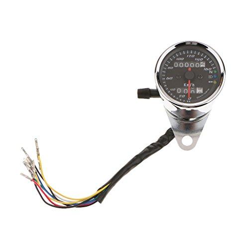 perfeclan Motorrad Dual LCD Digital Tacho Tachometer Drehzahlmesser Geschwindigkeitsmesser