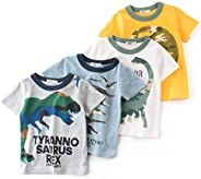 Camiseta para Niños Pack de 4 T-Shirt Manga Corta Camuflaje Dinosaurio Impresión Algodón Tops Trajes de Verano