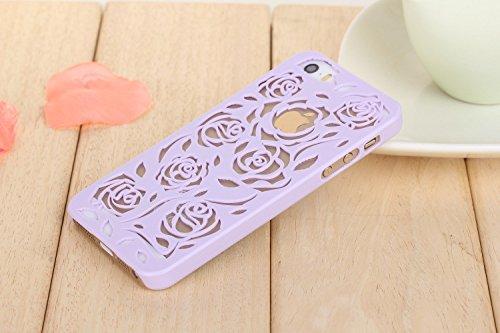 Coque iPhone 6/6s , iNenk® Hot Summer Slim couleur modèle creux téléphone Rose rétro Shell manchon protecteur Etui PC couverture mode marée-vert Purple