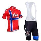 veinater Hombres de bicicleta para carretera Carreras Manga Corta Ciclismo Jersey y pantalones cortos en bicicleta babero para bicicleta, color rojo, hombre, color rojo, tamaño large