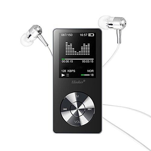 MP3 Player, Elinker 8GB Metall MP3 MP4 Player mit Eingebautem Lautsprecher, 80 Stunden Wiedergabe 1,8 Zoll Anzeige Musik Player, FM Radio, Video, E-Book Unterstützen Erweiterbar bis zu 128 GB (Schwarz)