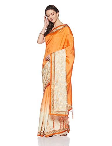 Aalia Art Silk Saree With Blouse Piece (11017!_Orange, Cream!_One size)