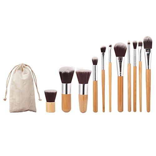 Sasairy Kit De Pinceau Maquillage Professionnel 11 pièces Bamboo Pinceaux pour Fond de teint/Ombre à paupière/ Make Up Set avec Sac de Rangement