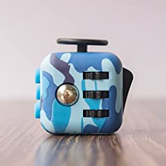 Idea Regalo - Cubo anti-stress, con 6diverse funzioni (Fidget Cube), V2, dialta qualità, colore blu mimetico