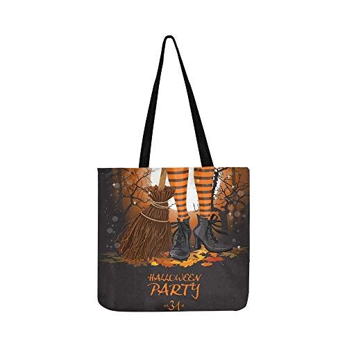 Halloween Party Poster Hexe Beine Stiefel Leinwand Tote Handtasche Umhängetasche Crossbody Taschen Geldbörsen Für Männer Und Frauen ()