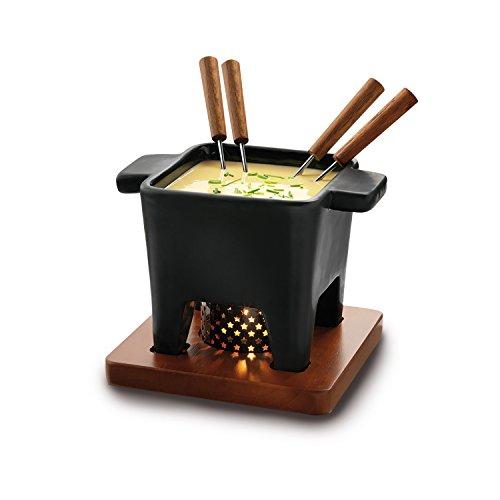 Boska 853529 juego para fondue 0,4 L Negro 4 personas(s) - Juegos para fondue (0,4 L, Negro, 4 personas(s), Plaza, Cerámico, Acero inoxidable)