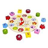 Toyvian Zahlen Passende Uhr Bunte Kaninchen Muster Holzbausteine Montage Lernspielzeug für Kinder