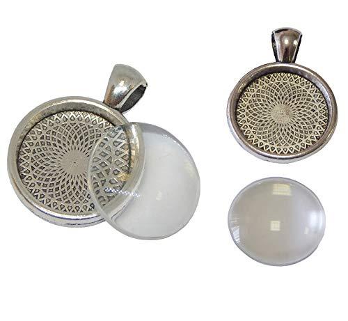 Perlin - 12 Set Metall Anhänger Fassungen und 20mm Runde Glas Transparent Cabochon Fassung Rahmen Medaillons Super Optik Bastelset (Medaillon Antik-glas)