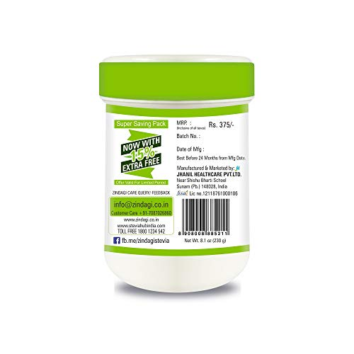 Zindagi Stevia Powder - Natural Stevia Spoonable White Powder Extract - Sugar-Free - Special Discount Offer For Few Days (200+30 GM Free Of Cost)