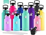 KollyKolla Vakuum-Isolierte Edelstahl Trinkflasche, 350ml BPA-frei Wasserflasche mit Filter, Thermosflasche für Kinder, Mädchen, Schule, Kindergarten, Sport, Wandern, Camping, Outdoor, Macaron Grün