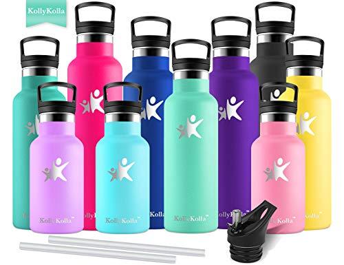 KollyKolla Vakuum-Isolierte Edelstahl Trinkflasche, 500ml BPA-frei Wasserflasche mit Filter, Thermosflasche für Kinder, Mädchen, Schule, Kindergarten, Sport, Wandern, Camping, Outdoor, Macaron Grün