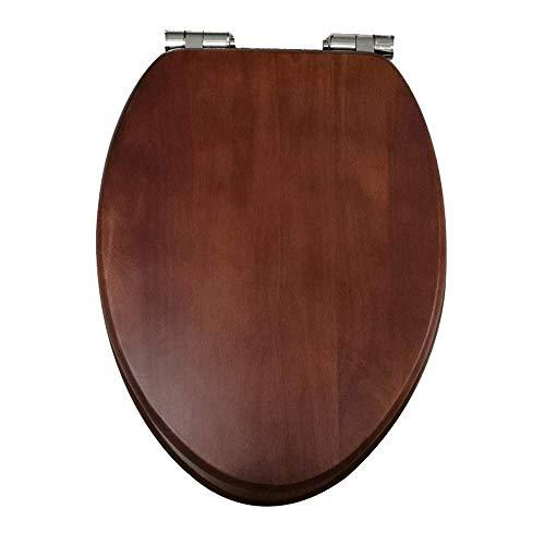 Jueven sedile wc in legno con sedile con coperchio a cerniera regolabile soft close for bagno di famiglia. modello in legno scuro (color : locked above)