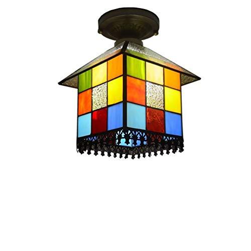 Tiffany-Stil in der Nähe von Deckenleuchten Augenschutz für Wohnzimmer Schlafzimmer Esszimmer Hotel LED Square Deckenleuchte Glasmalerei Dekoration Pendelleuchten