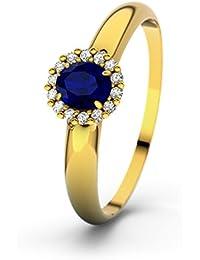 Damen-Ring Verlobungsring Charlotte-Elizabeth mit blauem Saphir Facettenschliff, 14 Karat (585) Gelbgold Verlobungsringe, 21Diamonds