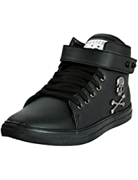 WESTCODE Mens Black Synthetic Leather High Top Casual Shoes and Sneakers