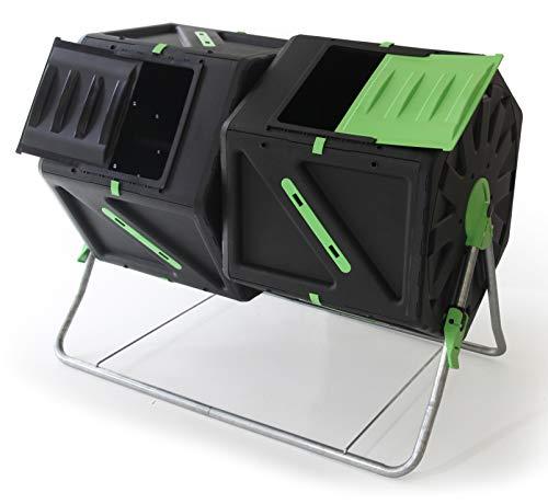 UPP Trommel-Komposter 2 Kammern je 105L | Thermokomposter mit interner Belüftung beschleunigt Herstellung von Kompost/Bio Dünger| Schnellkomposter für Garten und Balkon | Komposter reduziert Abfälle